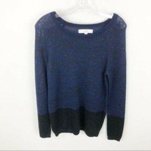 Loft Dip Dyed Crew Neck Sweater Sequins Sparkly S